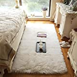 Noahas Luxury Fluffy Rugs Bedroom Furry Carpet Bedside Sheepskin Area Rugs Children Play Princess Room Decor Rug, 2.3ft x 5ft White