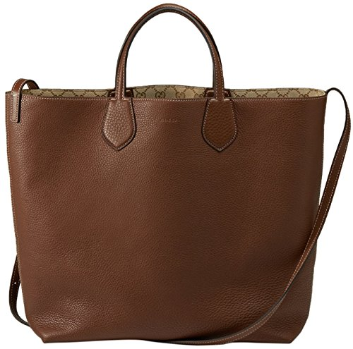 "51BBTGNrrPL made in Italy one side in nut brown leather, reversible side in new sand original gg canvas medium size: w 18"" x h 14"" x d 5"""