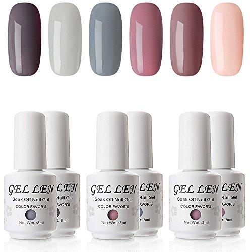 Gellen Gel Polish Set - Nude Gray Series 6 Colors Nail Art Gift Box, Soak Off UV LED Gel Nail Kit 8ml