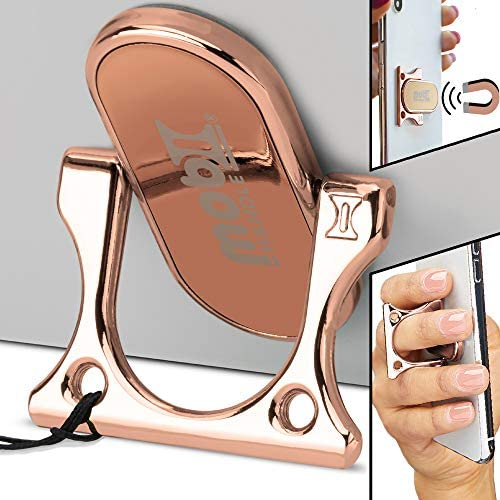 3 Finger Phone Ring Holder Kickstand – MOBI HANDLE Comfy Secure Grip, Scratch Resistant Durable Light Metal, Ideal for Magnetic Car Mount or Stand, Gift Idea, w/ Wrist Strap [Rose Gold]