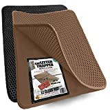 iPrimio Small Cat Litter Trapper Litter Mat, EZ Clean Cat Mat, Litter Box Mat Water Proof Layer and Puppy Pad Option. Patent (23'x21' Brown)