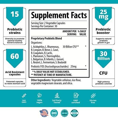 30 Billion CFU Probiotic Supplement with Prebiotics – Patented Acid Resistant Capsules to Promote Gut Health, Support Immune System – Probiotics for Women and Men of All Ages - 60 Vegetarian Capsules 2