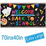 Welcome Back To School Banner - Extra Large Fabric 70' X 40' - First Day Of School Backdrop Banner - Welcome Back To School Party Decorations Supplies - Classroom Office School Photo Backdrop Decor
