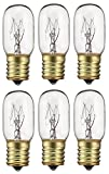 6 Pack 40 Watts Microwave Replacement Bulb for Most Ge and Whirlpool Oven, 40T8 E17 Base Appliance Light Bulb MOL 2.5 '