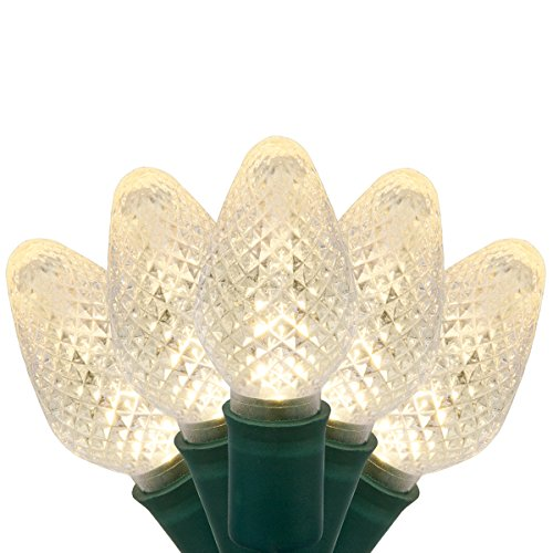 C7 LED Faceted Warm White Prelamped Light Set, Green Wire - 25 C7 Warm White LED Christmas Lights, 8' Spacing