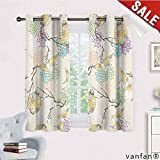 LQQBSTORAGE Lantern,Room Darkening Wide Curtains,Colorful Origami Cranes Paper Lanterns with Branches and Flowers Culture, Window Drapes for Bedroom,Lilac Pink Beige Yellow