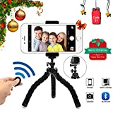 Phone Tripod Phone Stand with Bluetooth Camera Remote and Phone Holder for iPhone X 8/8s 7 7 Plus 6s Plus 6s 6 SE Samsung Galaxy S8 Plus S8 Edge S7 Action Camera GoPro/Akaso More (BLACK6)