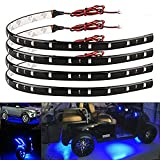 EverBright 4-Pack Blue 30CM 5050 12-SMD DC 12V Flexible LED Strip Light Waterproof Car Motorcycles Decoration Light Interior Exterior Bulbs Vehicle DRL Day Running with built-in 3M Tape