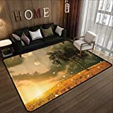 Durable Rubber Floor Mat,Fantasy House Decor Collection,The Unreal View Land with Flying Flowers Tree Moon Dark Clouds and Setting Sun,Green Yell 63'x 94' Non-Slip Modern Carpet