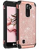 BENTBOEN Case for LG K7 LG Treasure LTE/LG K8 2016, Phone Case for LG Tribute 5 / LG Escape 3 / LG Phoenix 2 / LG K373 / Luxury Glitter Bling Hybrid Chrome Shockproof Protective Case, Rose Gold