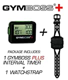 Gymboss Plus Interval Timer and Stopwatch Watch Strap - Bundle (Black with Green Buttons)