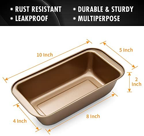 OJelay Bread Loaf Pan | 8x4Inch 2 Pack Nonstick Baking Pan Carbon Steel Loaf Pan For Baking Bread