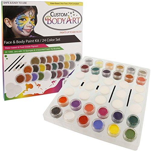 24 color pro face paint color set large 10 ml jars with applicator