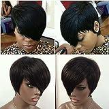 WOB Hair Glueless 150% Density Brazilian Human Hair Side Bang Short Bob Wig Haircut None Lace Wig 8inch 1#
