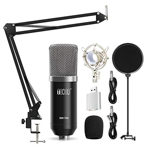 TONOR-XLR-Condenser-Microphone-Kit-with-XLR-to-XLR-Cable35mm-to-XLRAdjustable-Mic-Suspension-Scissor-ArmShock-MountUSB-Audio-Adapter-for-Professional-StudioHome-Recording-Podcasting-Black