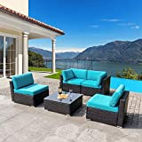 Walsunny 5pcs Patio Outdoor Furniture Sets,Low Back All-Weather Rattan Sectional Sofa with Tea Table&Washable...