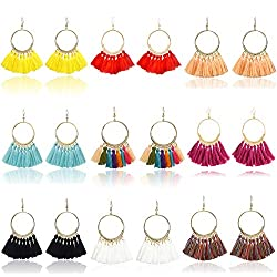 9 Pairs Tassel Hoop Earrings for Women Colorful Fan Shape Drop Earrings Statement Earrings for Women Girls Daily Wear Fashion Jewelry Valentine Birthday Christmas Gifts