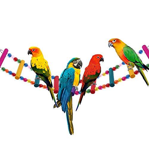 12 Steps Bird Toys 31 inch Wood Bird Ladder, Step Parrot Ladder Swing Bridge,Bird Cage Accessories Decorative Flexible Cage Wooden Rainbow Toy for Cockatiel Conure Parakeet Birdcage Training
