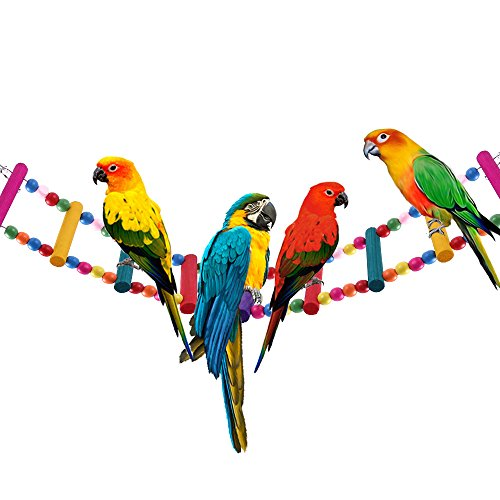 12 Steps Bird Toys 31 inch Wood Bird Ladder, Step Parrot Ladder Swing Bridge,Bird Cage Accessories Decorative Flexible Cage Wooden Rainbow Toy for Cockatiel Conure Parakeet Birdcage Training