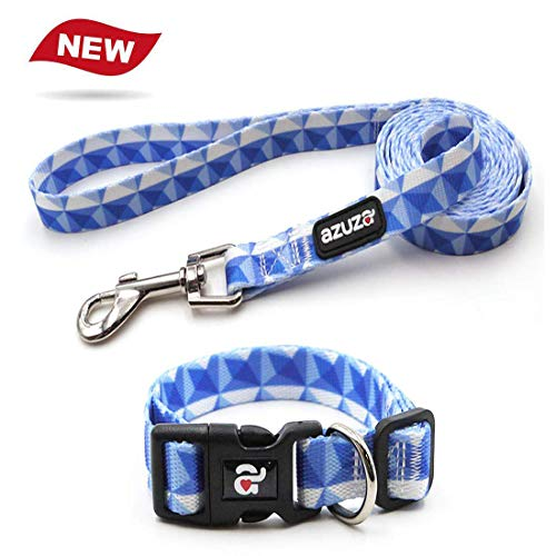 azuza Dog Collar and Leash Set,Adjustable Nylon Collar with Matching Leash,Blue...