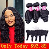 YUZHU Loose Wave Hair Bundles with Frontal (16'18'20'+14') 8A Peruvian Wave Human Hair Bundles with 13x4 Ear To Ear Lace Frontal Virgin Remy Hair Extensions Natural Color