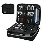 Electronics Organizer, Vivefox Double Layer Travel Bag Accessories Cable Organizer for Cords, USB Cable, SD Cards, Hard Drive, Power Bank, E-Book Kindle, iPad and More (Medium, Black)