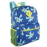 Boy's 6 in 1 Backpack Set With Lunch Bag, Pencil Case, Bottle, Keychain, Clip (Sharks)