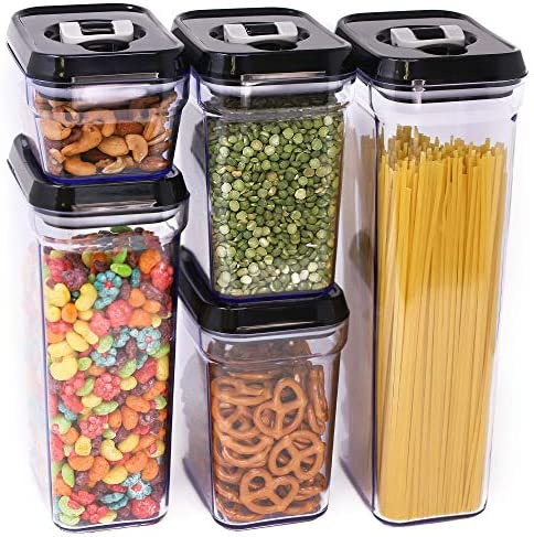 Zeppoli Air-Tight Food Storage Container Set | 5-Piece Set – Durable Plastic – BPA Free – Clear Plastic with Black Lids (2.0 qt/2.3 liters) (1.5 qt./1.7 liters) (0.9qt/1.0 liter) (0.35qt/ 0.38 liter)