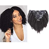 Anrosa Afro Kinkys Curly Clips ins Human Hair Extensions 3C 4A Hair Afro Kinky Curly Clip in Hair Extensions for African American Black Women Remy Hair 1B Natural Black Thick Hair 18 Inch 120 Gram