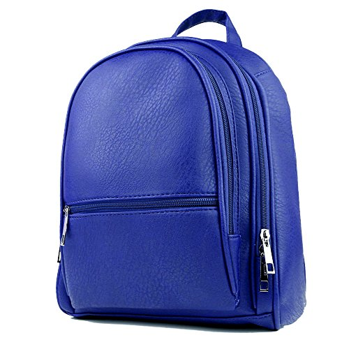 KORJO Leather Backpack Purse for Women Girls Vintage Simple Design Casual School Travel Daypack Blue
