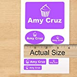 School Pack Custom Labels Self Adehesive PVC Stickers Waterproof (90 Labels) for Camp or School, Dishwasher Safe - Great for Clothes - Machine Washable Choose Custom Color, Text and Icons