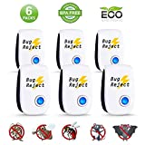 Bug Reject Ultrasonic Repeller, 2019 Newest Electronic Pest Repellent Indoor Plug in Non-Toxic Pest Insects Controller for Mosquitoes Mice Spiders Ants Rats Roaches Bugs Humans & Pets(6 Packs)