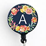 A Initial Navy Floral Wreath - Retractable Badge Reel with Swivel Clip and Extra-Long 34 inch Cord - Badge Holder