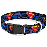 Buckle-Down Superman Shield Camo Blue Plastic Clip Collar, Wide Large/18-32""