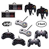 Vilros Retro Gaming Classic USB Controller Set- Includes: 2 NES Style USB Gamepads -2 SNES Style USB Gamepads-2 SEGA GENASIS Style USB Gamepads-2 PS2 Style USB Gamepads-2 N64 Style USB Gamepads