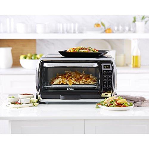 Oster Large Digital Countertop Convection Toaster Oven, 6 Slice, Black/Polished Stainless (TSSTTVMNDG-SHP-2)
