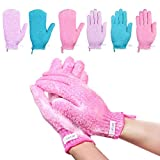 Lurrose Exfoliating Gloves Bath-Scrubbing Massage Shower Gloves for Men and Women, Dead Skin Cell Remover Body Scrubs, 6 Pairs 3 Colors 2 Types