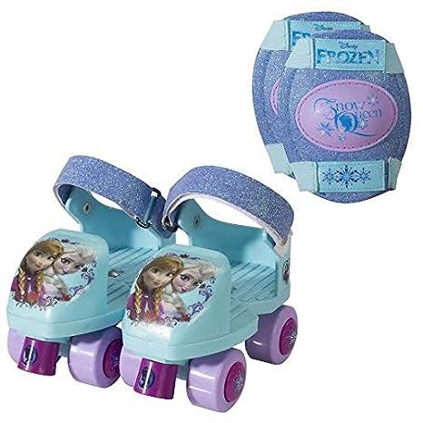 Frozen Kids Glitter Rollerskate, Junior Size 6-12 with Knee Pads