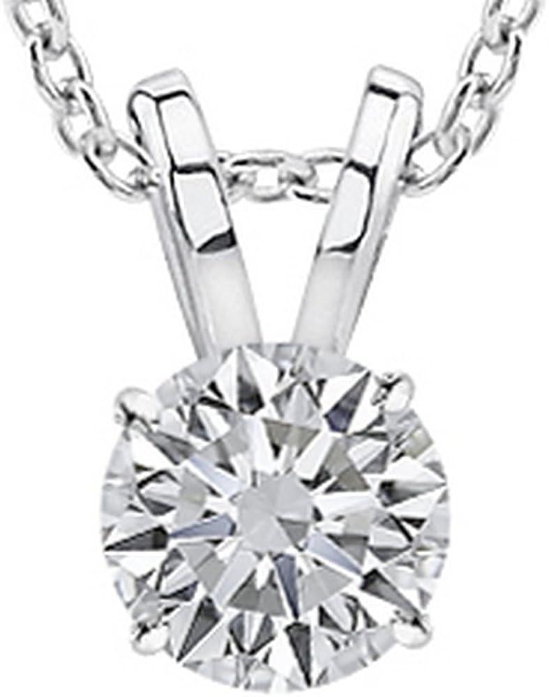 1/2-3 Carat 18K White Gold GIA Certified Round Cut Diamond Pendant Necklace Luxury Collection (D-E Color, VS1-VS2 Clarity)