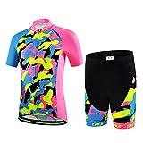 CH&Q Kids Cycling Jersey Set Boys Girls 216D Padded Shorts Cartoon Bike Short Sleeve