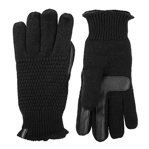 Isotoner Women's Knit Touchscreen Gloves with Water Repellent Technology, black, X-Large