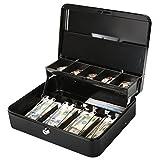 Jssmst Large Cash Box with Lock - 2017 New Metal Money Box 100% Safe, 11.8L x 9.5W x 3.5H Inches, Black, SM-CB0501L