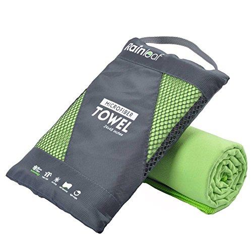Rainleaf Microfiber Towel, 24 X 48 Inches. Green.