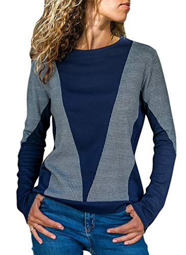 b20ab8fd2d4 Sidefeel Women Casual Long Sleeve Crewneck Sweatshirt Color Block Pullover  Top