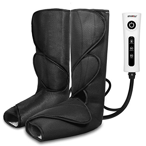 CINCOM Leg Massager for Foot Calf Air Compression Leg Wraps with Portable Handheld Controller - 2 Modes & 3 Intensities (Black)
