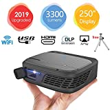 LED DLP Projector 3D Pico Micro Video Projector - Dual WiFi Pocket Size Portable Mobile Mini Projector with HDMI USB 3.5mm Aux Out Speaker Auto Keystone Battery Wireless Synchronize to Smart Phones