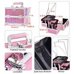 Joligrace-Makeup-Train-Case-Portable-Cosmetic-Box-Jewelry-Organizer-Lockable-with-Keys-and-Mirror-2-Tier-Trays-Carrying-with-Handle-Makeup-Storage-Box-Mermaid-Pink