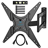 """PERLESMITH TV Wall Mount for 26'-55"""" TVs with Swivel & Extends 18.5""""- Wall Mount TV Bracket VESA 400x400 Fits LED, LCD, OLED Flat Screen TVs Up to 88 lbs - with HDMI Cable, Bubble Level & Cable Ties"""