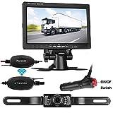 "LeeKooLuu Backup Camera Wireless and 7"" TFT Monitor System Kit For Car/SUV/Truck/Pickup/Van/Camper 9V-24V Reverse camera IP68 Waterproof Night Vision Guide Lines"