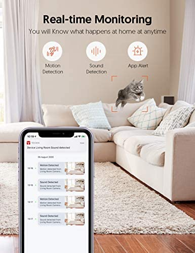 Teckin Cam 1080P FHD Indoor Wi-Fi Smart Home Security Camera with Night Vision, 2-Way Audio, Motion Detection, Omnidirection for Baby/Pet/Nanny/Elderly, Works with Alexa & Google Home, 2 Packs 16